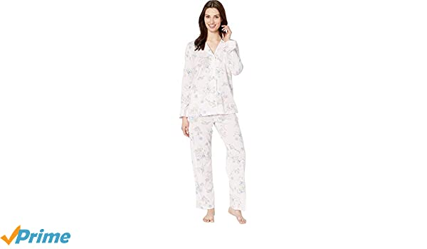 831aff991efe LAUREN RALPH LAUREN Women s Knit Notch Collar Pajama Set Pink Floral Print  Small at Amazon Women s Clothing store