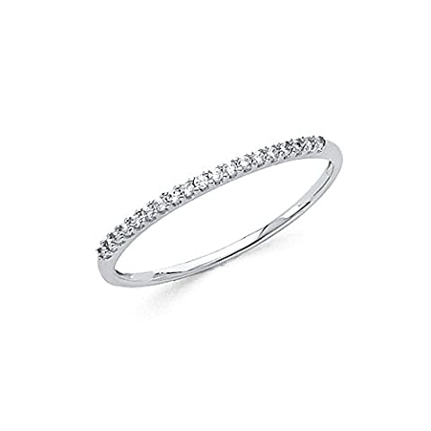 Bridal Round CZ Wedding Band 14k White Gold Anniversary Delicate CZ Ring Light Weight Solid Size - 14k Gold Classic Wedding Band