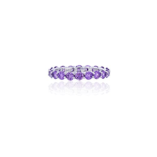 Sterling Silver 3mm Round Amethyst CZ Prong Set Eternity Band - Round Eternity Stackable Ring
