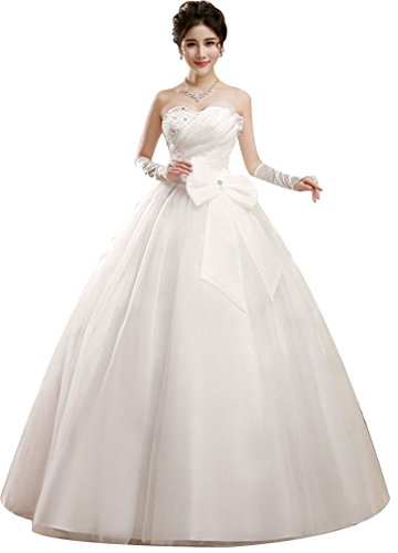 Eyekepper Beaded Strapless A-Line Ball Gown Wedding Dress Custom Size