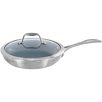 Zwilling J.A. Henckels Spirit 9.5-inch Stainless Steel Aluminum Core Ceramic Nonstick Skillet with Glass Lid