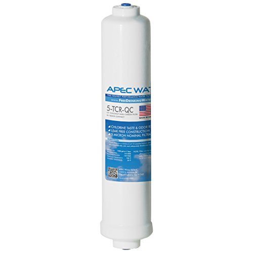 """APEC 5-TCR-QC US MADE 10"""" Inline Carbon Gauze with ¼"""" Quick Connect For Reverse Osmosis Water Filter System (For Standard System)"""