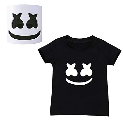 Summer DJ Smiley Face T-Shirt+Latex Helmet Full Mask,Halloween
