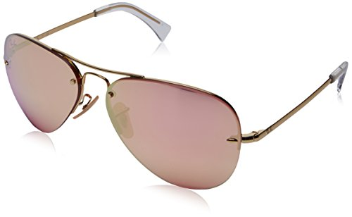 Ray-Ban RB3449 Aviator Sunglasses, Gold/Pink Mirror, 59 ()