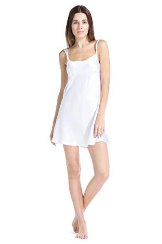 Fishers Finery Women's 100% Silk Chemise/Nightgown; Short Gown (White, S)