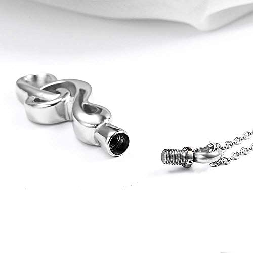 YOUYUZU Music Note Urn Necklace for Ashes Keepsake Memorial Cremation Jewelry for Men Dad