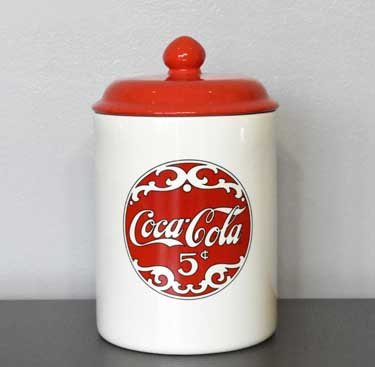 Heart of America Red & White Ceramic Coke Cookie Jar
