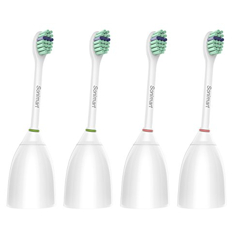 Hx7012 Elite Replacement Compact (Sonimart Compact Replacement Toothbrush Heads for Philips Sonicare e-Series HX7012, 4 pack, fits Sonicare Advance, CleanCare, Elite, Essence and Xtreme Philips Brush Handles)