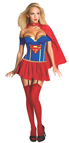 (Secret Wishes Womens DC Comics Supergirl Corset Costume, Red/White/Blue, Large)