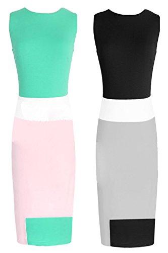 Womens Casual Colorblocking Formal Office Midi Bodycon Stretch Dress Plus Size (XXL(US10), black+beige+white)