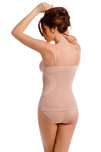 Envie® Damen Shapewear Unterhemd figurformend und komfortabel mit verstellbaren Trägern, seamless - (Made In Italy) Natur XL - 42 EU