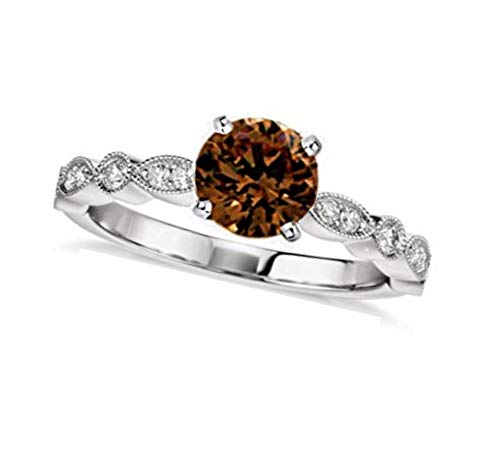 Brandy Diamondorables Chocolate Brown 14k White gold Silver Solitaire Ring 1.50 Ctw.