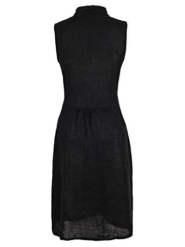 cuartos calidad S con bolsillos Ao de lino de negro de Vestido Xxxl 4 WpvnBEqSER
