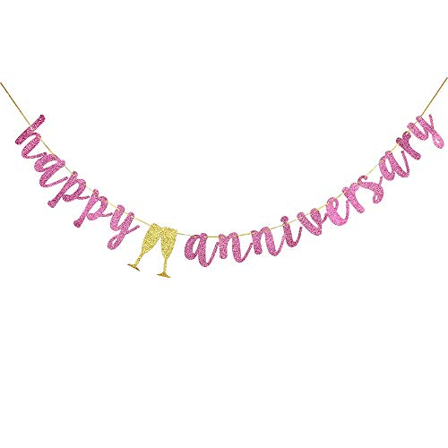 (INNORU Happy Anniversary Banner - Pink Glitter Birthday Anniversary Sign - Wedding Anniversary Party Decoration Photo Props)