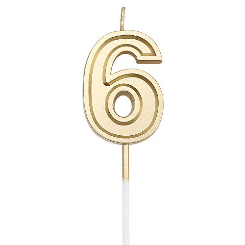 (URAQT Birthday Candles Numbers, Gold Glitter Birthday Numeral Candles for Birthdays, Weddings, Reunions, Theme Party, Number 6)