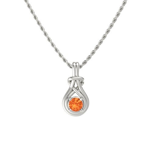 14k Gold Opal Pendant - Round Fire Opal 14K White Gold Necklace â€
