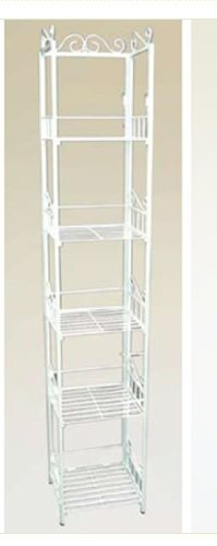 5 Tier Book Case Cd Rack Shelf Unit White Metal #AD6176-WH by HP