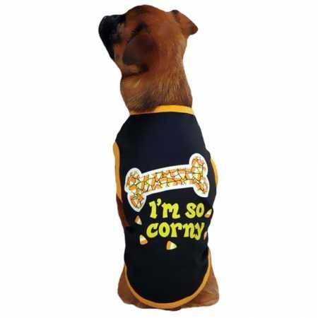 Casual Canine I'm So Corny Tee for Pets, Small, Black