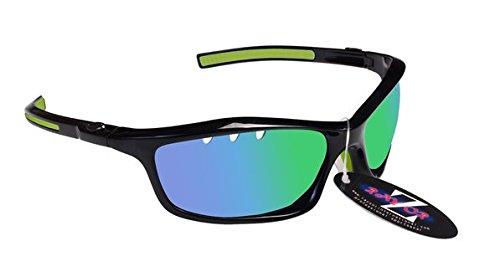 RayZor Professional Lunettes de soleil de sport Noir UV400voile, ultra léger avec un miroir vert aérés en iridium anti-reflets Objectif