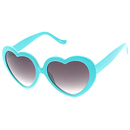 zeroUV - Women's Oversize Gradient Lens Heart Sunglasses 55mm (Teal / (Teal Heart)