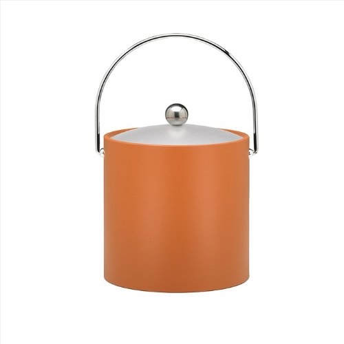 (Kraftware Bartenders Choice Fun Colors Collection Ice Bucket 3-Quart, Spicy Orange, Double Wall Construction, Keep Ice Perfectly Chilled, Hotel Ice Bucket, Guest Room Bar Area Ice Bucket, Bale Handle)