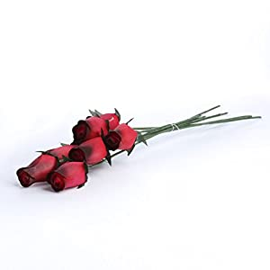 Realistic Bouquet of 8 Wire Stem Shades of Red Roses in Cellophane Sleeve - So Realistic It Is Hard to Believe They Are Made From Thin Shaved Wood! 85