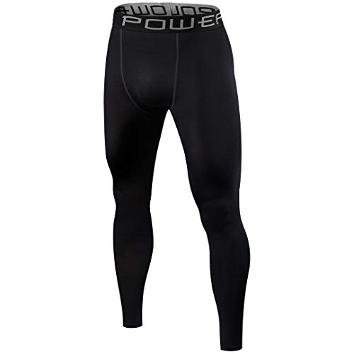 PowerLayer Mens Boys Compression Thermal Base Layer Under Tights/Leggings - Black Large