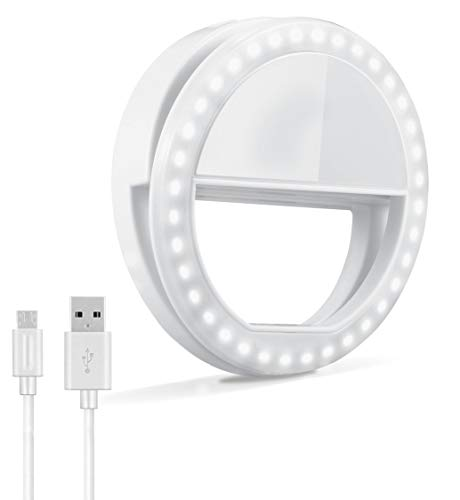 Selfie Ring Light, Oternal Rechargeable Portable Clip-on Selfie Fill Light with 36 LED for iPhone Android Smart Phone Photography, Camera Video, Girl Makes up, White Color (SG01)