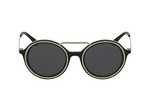 Emporio Armani EA4062 50171Z Black/Pale Gold EA4062 Round Sunglasses Lens - Gold Armani Sunglasses