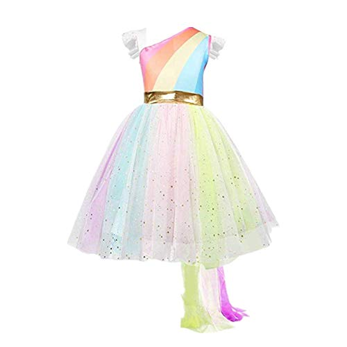 Girl's Rainbow Unicorn Costume for Girls with Wing Headband for Halloween Party -