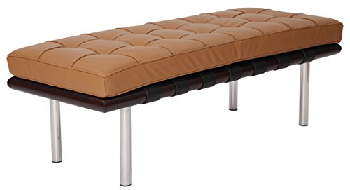 MLF Pavilion Bench (4 Colors/2 Sizes). High Resilient Foam. Italian Leather. Breathability, Steady, Durable, Artistic. Mattress Detachable.(132CM,Light Brown + Dark (Leather Walnut Bench)
