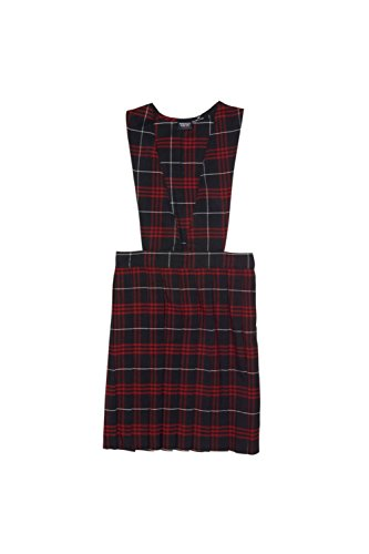 French Toast Big Girls' Plaid V-Neck Jumper, Navy and Red Plaid, (Navy Red Plaid Dress)
