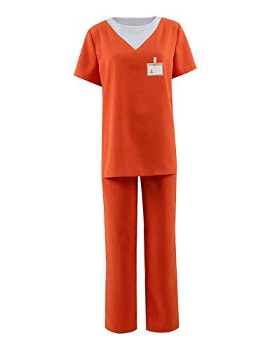 Piper Chapman Costume (New Black Unisex Orange Prison Jumpsuit Piper Chapman Costume Halloween Cosplay (Men-XL, Color)