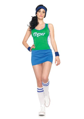 Leg Avenue NBA 2 Piece Mavericks Dancer Dress, Green/Blue, (Nba Dancers Halloween)
