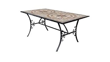 Axel Group Tables En Fer Forge Avec Mosaique En Pierre Rectangulaire