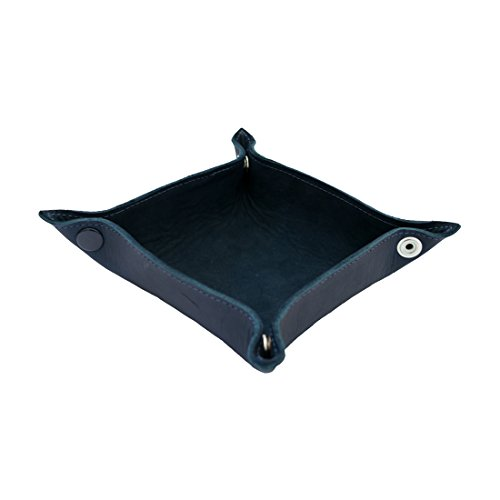 Hide & Drink Leather Catchall Change Key Wallet Coin Box Tray Storage Valet Handmade Blue Suede