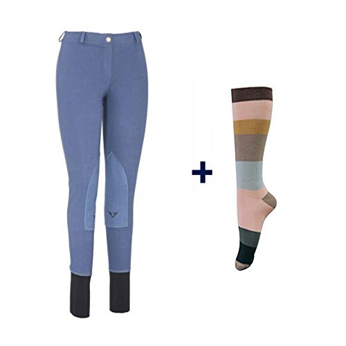(TuffRider Women Starter Lowrise Pull On Breeches with Free Assorted Striped Socks   Knee Patch   Horse Riding Pants   Equestrian Apparel - Denim - 30)