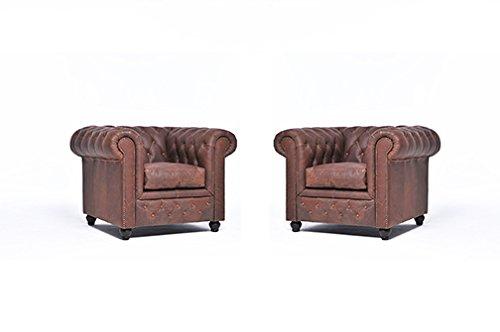 Conjunto Sillónes Chester Vintage -Marrón - 1/1 plazas ...