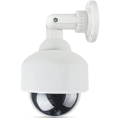 WALI Bullet Dummy Fake Surveillance Security CCTV Camera Indoor Outdoor with One LED Light, Warning Security Alert Sticker Decals (TC-S1)