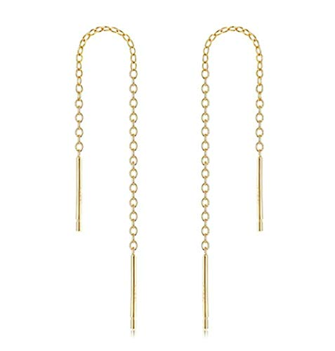 2pcs 14k Gold on Sterling Silver Cute Ear Threads Long Chain Dangle Bar Earrings | 2 inch Drop Earring Threader Jewelry Findings SS339-2