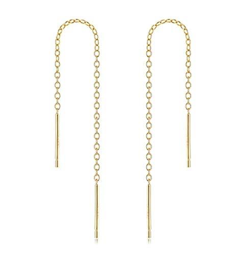 (4pcs 14k Gold on Sterling Silver Cute Ear Threads Long Chain Dangle Bar Earrings | 2 inch Drop Earring Threader Jewelry Findings SS339-2)