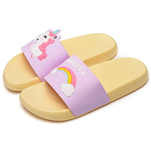 Cute Colorful Unicorn Rainbow Soft Slippers for Women - Classics Anti-Skid Casual Sweet Color Flat Girl Slide Sandals for Summer Slip-On Comfortable Shoes with Animal Print