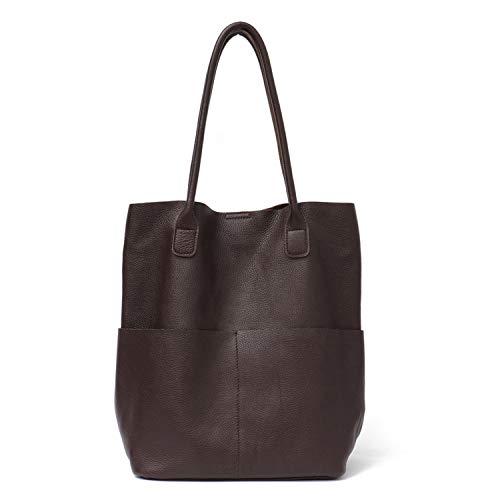 Women Leather Shoulder Bags Causal Vintage Soft Skin Handbag Shopping Bucket Liner Bag,COFFEE (Best Tiny House Blogs)