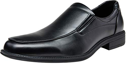 (VEPOSE Men's Slip on Dress Shoes Formal Square Toe Loafer Oxfords(12,Black))