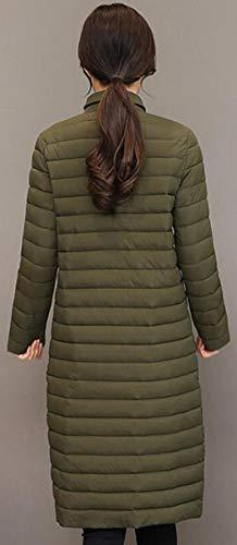 Lunga Lungo Slim Cappotto Da Manica Militare Cotone Fit Invernale Casual Blackmyth Outwear Donna Verde CqzYS