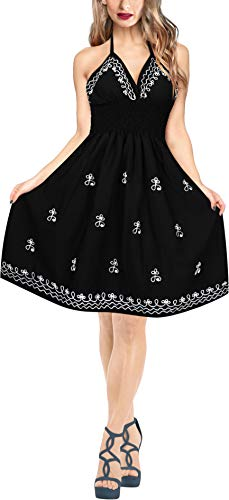 LA LEELA Rayon Solid Hawaiian Tube Dresses Luau Length Knee Black 3170 One Size