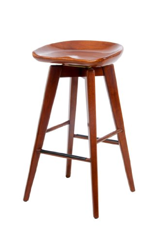 Boraam 55129 Bali Bar Height Swivel Stool, 29-Inch, Walnut by Boraam