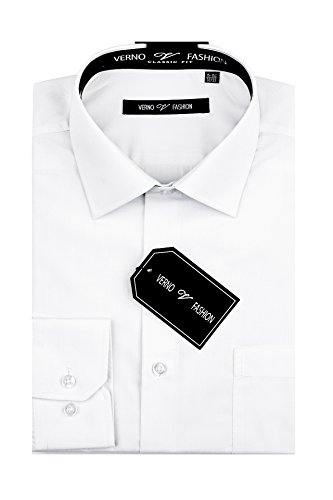 Long Sleeve Shirt Suits (Verno Luxton Men's Regular Fit Long Sleeve Dress Shirt - Available in More Colors (17-36/37, White))