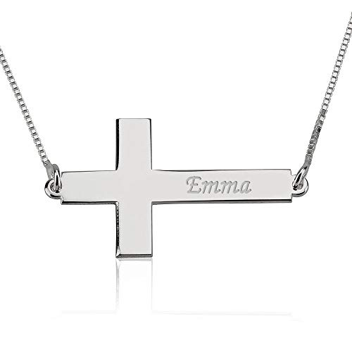 Sideways Cross Name Necklace - Engraved Cross Necklace in Sterling Silver