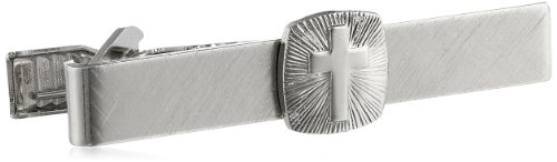Status Men's Tie Bar Cross On Square In Center, Silver, One Size by Status